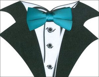 White Tuxedo T-Shirt with Real Turquoise Bow Tie