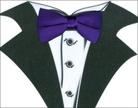 White Tuxedo T-Shirt with Real Purple Bow Tie