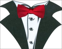 White Tuxedo T-Shirt with Real Red Bow Tie