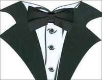 White Tuxedo T-Shirt with Real Black Bow Tie