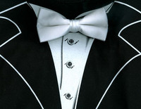 Long Sleeve Tuxedo T-Shirt in Black with Real White Bow Tie