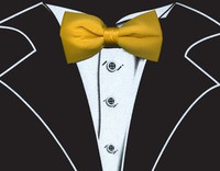 Long Sleeve Tuxedo T-Shirt in Black with Real Yellow Bow Tie