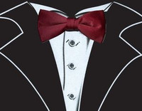 Long Sleeve Tuxedo T-Shirt in Black with Real Wine Bow Tie