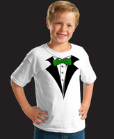 Kids White Tuxedo T-Shirt with Green Tie