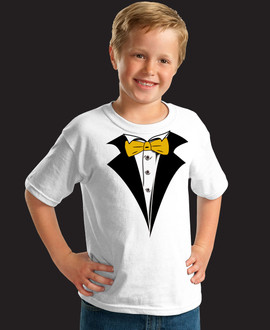 Kids White Tuxedo T-Shirt with Yellow Gold Tie