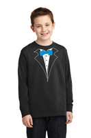 Long Sleeve Tuxedo T-Shirt for the kids blue tie, no carnation