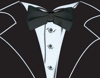 Long Sleeve Tuxedo T-Shirt in Black with Real Black Bow Tie