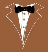Brown Tuxedo T-Shirt with Black Tie