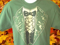 Olive Green Tuxedo T-shirt with Black Tie