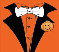 Orange Tuxedo T-Shirt with Halloween Pumpkin