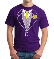 Purple Tuxedo T-shirt Euro Style with Yellow Gold Tie