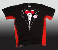 Tie Dye Tuxedo T-Shirt in Black with Red Stripes-Bellefontaine