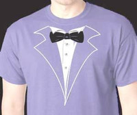 Purple-Violet Tuxedo T-shirt with Black Tie