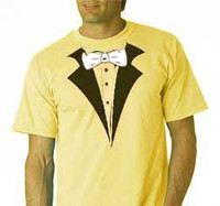 Tuxedo T-Shirt in Yellow with white BowTie