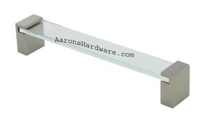 9376-256-BNI-GL Cabinet Handle Brushed Nickel &Glass 256mm Hole Spacing