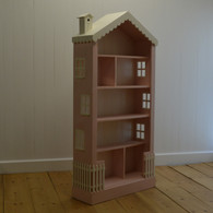 Cottage Dollhouse Tall Bookcase - Pink and French White