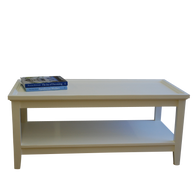 EFF-2057 Coffee Tray Table with Shelf - White