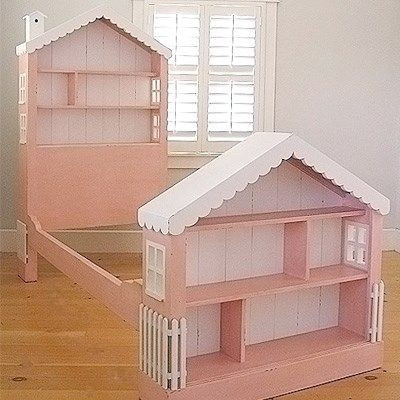 Children's Dollhouse Bed Pink with white trim