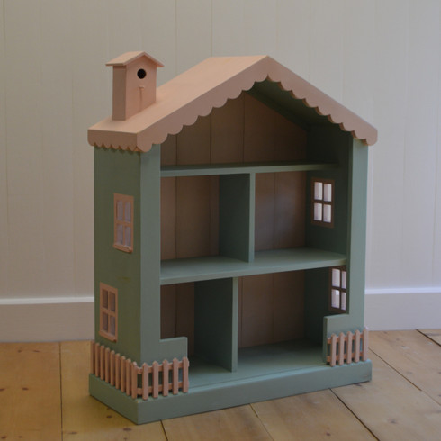 Cottage Dollhouse Bookcase - aqua with pink trim
