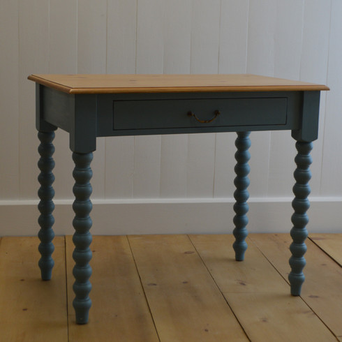 Spindle Writing Table   Faded Teal With English Pine Top