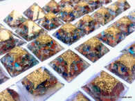 Lot of 25 Orgonite Pyramids for Energy 7 Chakra Stones filled Aura Energy Points