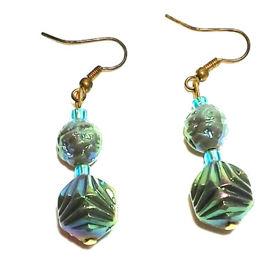 #A34 Unusual Iridescent Green  Drop with Turquoise Glass Accent, lightweight and lovely $25. Available in wire, post or clip on