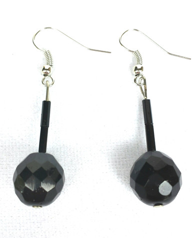 # A71 Faceted Black Austrian Crystal $25. Available in wire, post or clip, specify when ordering