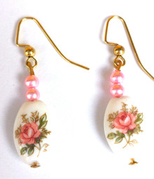 Lovely Porcelain Earrings with a Flower Design, Pink accent beads $25.