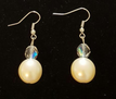 #A12 Lovely Lustrous Large Cream Colored  Pearl Earring with Faceted Austrian Crystal $25. Available in wire, post or clip, specify when ordering