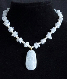 """#BN14  A very  feminine Necklace featuring a Carved  Semi-Precious Blue Lace Agate Pendant on a strand of delicate white pearls and Blue Lace Chips Price: $68.  Length 18"""" Available in custom size to fit your needs for a slight extra charge"""