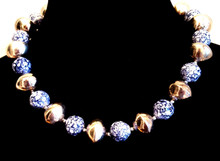 "#AN56 Silver and Vibrant Dappled Blue Beads  $65.  18""  May be custom ordered in preferred size for an additional charge."