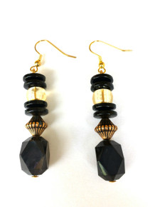 Black Earrings with Gold and Pale Amber Accents $25.