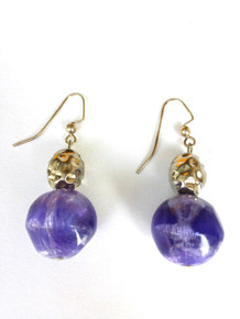 Lively Purple and Textured Silver earrings $25.