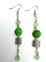 #A91 Etched Silver Earring with Polished Dark Green Stone and Faceted Green Crystal $45.