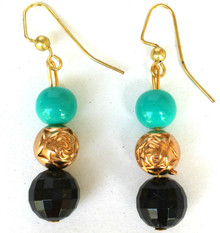 #A97 Hanging Earrings hand made with Sparkling  Faceted Black, Gold Rosebud Beads and Vivid Turquoise Glass Bead, a striking fashion color combination Price $25.  May be ordered in post, wire or clip on
