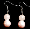 #B1  Elegant Earrings with Large Pale Pink Pearl and Semi-Precious Rose Quartz, refined and lovely. Price: $25. May be ordered in Post, Wire or Clip on