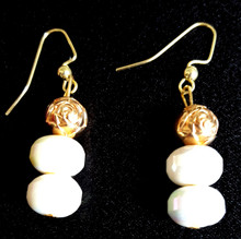 #B2 A great summer or cruise wear Earring: Gold Rosebud Bead with Pearlized White $25. #B2 May be ordered with post, wire or clip