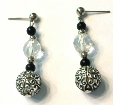 #A7 Beautiful  etched vintage silver and crystal earrings, $35.00  Available in wire, post or clip, specify when ordering