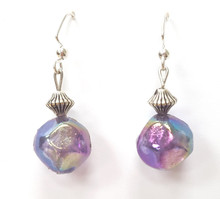 #A60 Earrings Translucent Purple and Silver $25. Earrings may be ordered in Post, wire or clip on