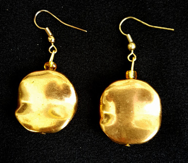 #A38 Unusual Wavy Gold Disc shaped earrings Make a Nice Fashion Statement $25. Available in post, wire or clip on