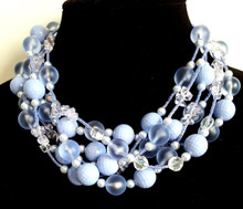 "#AN73  Fashion Statement Choker Handmade with Multiple Strands of Luscious Large Cornflower Lavender , Frosted , Crystal and Pearl beads $155. Length 18"" or 20"""