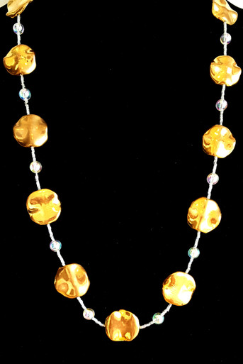"""#AN89 Long and Light weight  Necklace with Bright Wavy Gold Disc Shaped Beads separated by tiny crystals and round clear beads. A Go With Everything Accessory Price:$75. Length 30"""""""