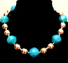 #BN91 Chunky but Light weight and Dramatic Large Acrylic Turquoise Colored Beads with Round Shinny Silver Accents Price $55.