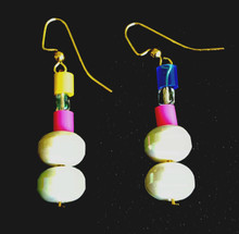 #B26 Earrings Handmade Fun Pearlized Lightweight  White Lacquer Beads with Bright colors $25.  Available in wire, post or clip on