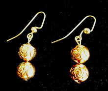 #A51 Earrings of Bright Gold with etched Flower design, goes with everything $25. Available in post, wire or clip on