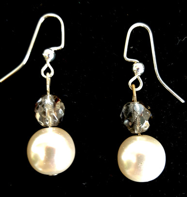 #B30 Glamorous Large White Pearl and Gleaming Faceted Light Gray Crystal  $25. Available in post, wire or clip on