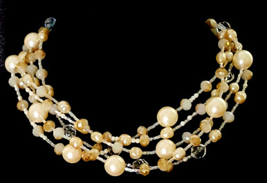 "#AN1  A Statement Choker Featuring Multiple Strands of Large and Assorted Creamy Pearls with Lovely Austrian Frosted Crystals that hint of a tawny Gold shade. This necklace beautifully Fills in a Neckline. $155.  18"" long but may be custom ordered in preferred size for an extra charage."