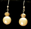 #B42 Earrings Large Cream Colored Pearl with an Australian Frosted Crystal that has a hint of tawny gold $35. May be ordered in wire, post or clip on
