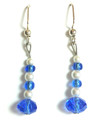 #A16 Faceted Blue Czech Crystal and Pearl Earrings $25.  May be ordered in wire, post or clip on, please specify when ordering