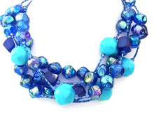 "#BN94  Happy Colors: Vivid Large Turquoise Colored Beads with Bright Royal Blue Make this a real Statement Choker. $139. 18"" I can custom make this in your preferred size for an additional charge."